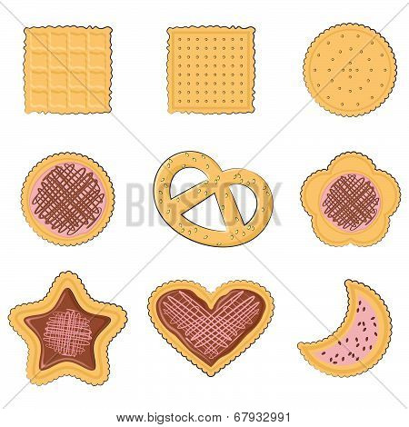 Set of few different tasty cookies