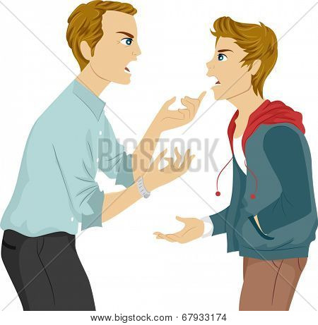 Illustration of a Father and Son Arguing
