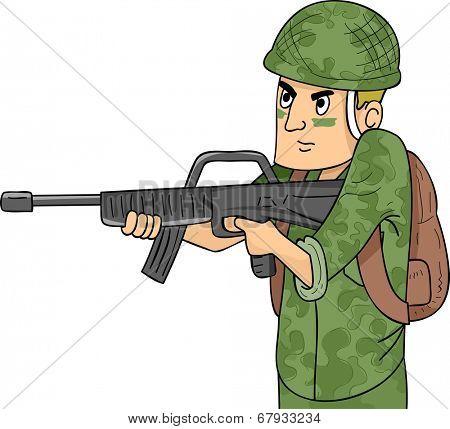 Illustration of a Soldier in Camouflage Uniform Wielding a Machine Gun