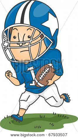 Illustration of a Football Player Running Across a Football Field