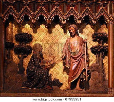 PARIS, FRANCE - NOV 5: The interior of Notre-Dame Cathedral in Paris, UNESCO World Heritage Site shows scenes from the life of Jesus Christ. Paris on November 05, 2012