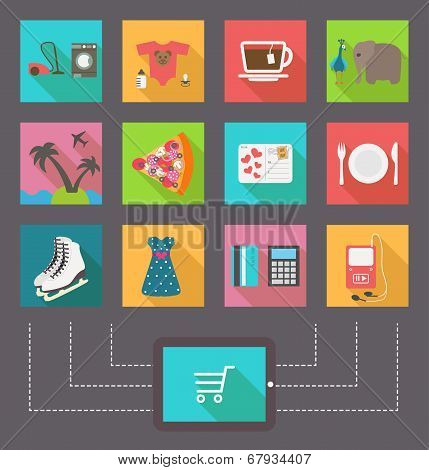 Internet shopping, e-commerce activity. Vector icons