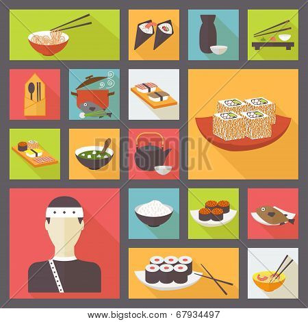 Japanese cuisine, food icons set, flat design vector