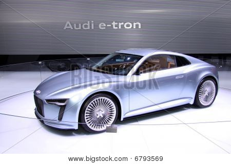 New Audi e-tron displayed in Detroit auto show