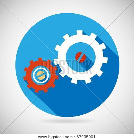 Troubleshooting Symbol Gears Icon on Stylish Background Modern Flat Design Vector Illustration
