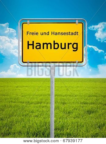 An image of the city sign of Hamburg