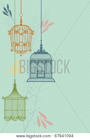 invitation card with vintage birdcage