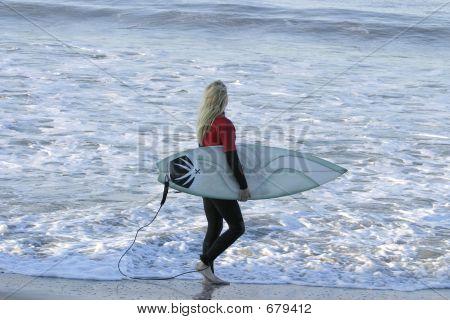 Blond Watching Waves