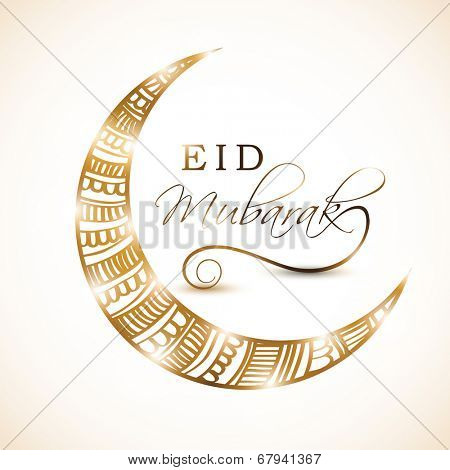 Golden crescent moon decorated with beautiful floral design on grey background for the occasion of Muslim community festival Eid Mubarak celebrations.