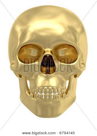 Caveira dourada isolada no branco