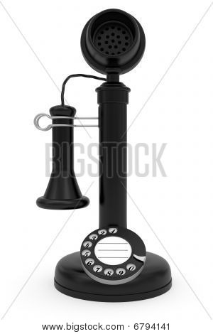 Black Retro-styled Telephone On White Background