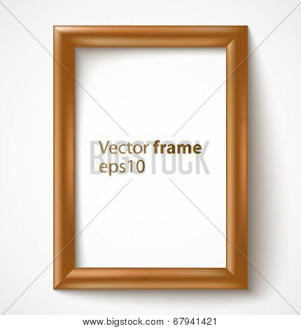 Light wooden rectangular 3d photo frame with shadow