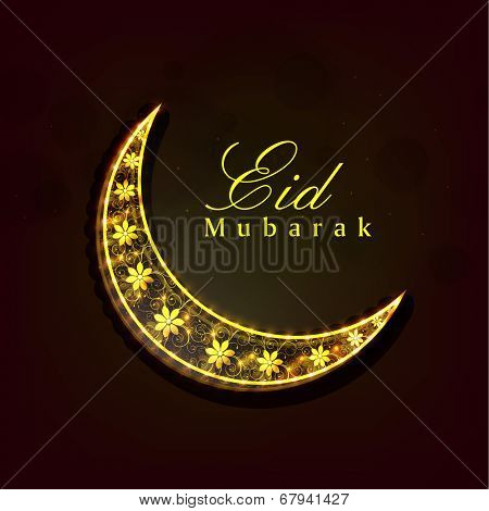 Golden crescent moon decorated with floral design on brown background for the occasion of Muslim community festival Eid Mubarak celebrations.