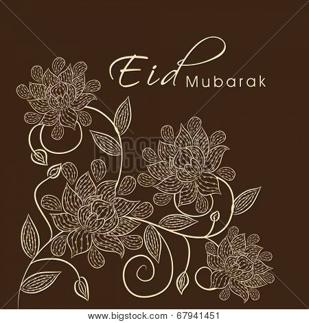 Beautiful floral design decorated Eid Mubarak greeting card design for Muslim community festival Eid Mubarak celebrations.