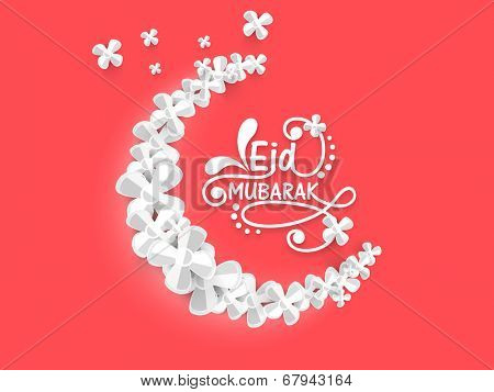 Beautiful white flowers decorated crescent moon on pink background for the occasion of Muslim community festival Eid Mubarak.