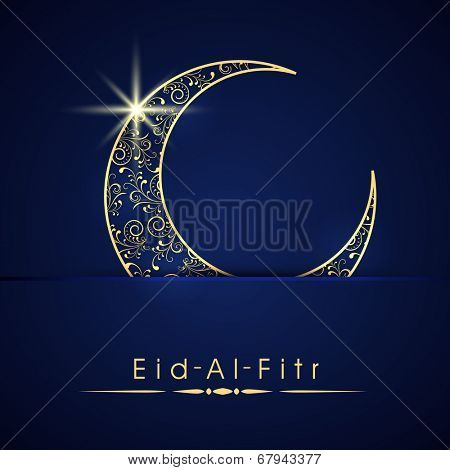 Shiny blue and golden crescent moon on blue background for the occasion of Muslim community festival Eid-Al-Fitr.
