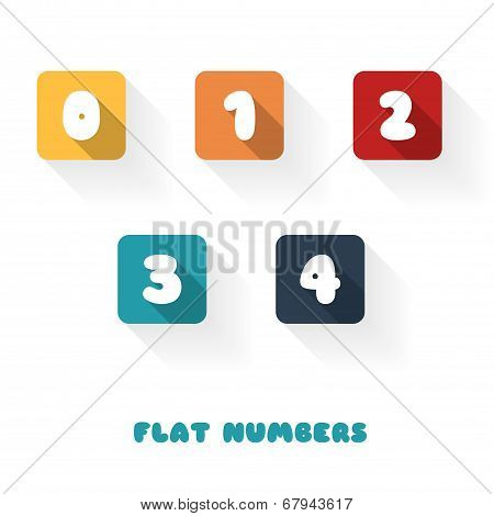 0 1 2 3 4  - Flat Design Numbers Buttons