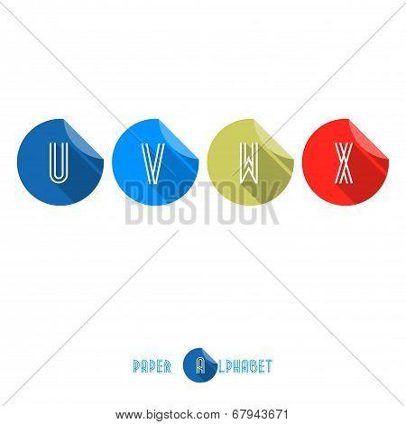 U V W X- Flat Design Paper Button Alphabet