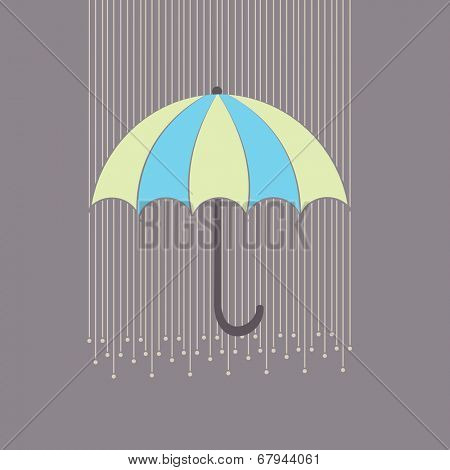 Stylish raindrops on grey background with colorful umbrella, Happy Monsoon Season concept.