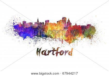 Hartford Skyline In Watercolor