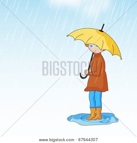 Cute little girl wearing raincoat holding yellow umbrella on rainy season background.