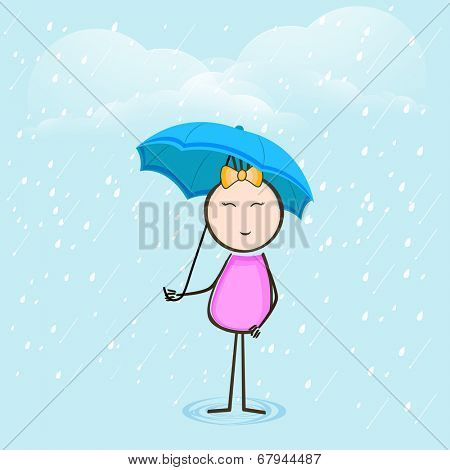 Cute little girl doodle holding an umbrella on blue background with raindrops.