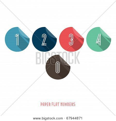 0 1 2 3 4  - Flat Design Paper Numbers Buttons