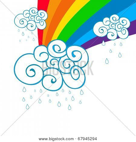 Beautiful monsoon season concept with floral design decorated clouds, raindrops and rainbow.