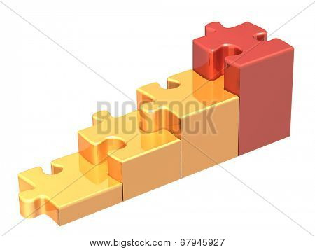 Stairs from four pieces of the puzzle. Isolated on white background