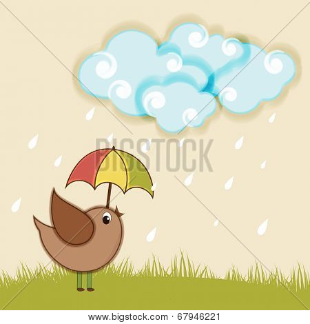 Cute little bird in under colourful umbrella and raindrops falling from blue clouds for monsoon season.