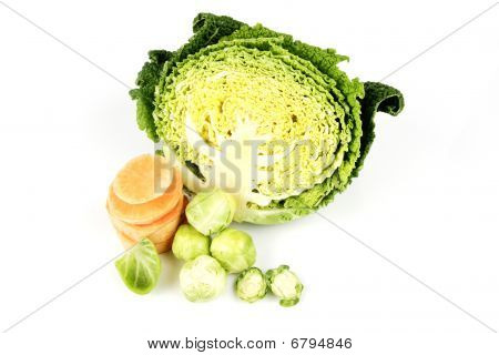 Half A Cabbage With Slices Sweet Potato And Sprouts