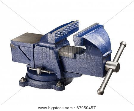 Table vise isolated on white.