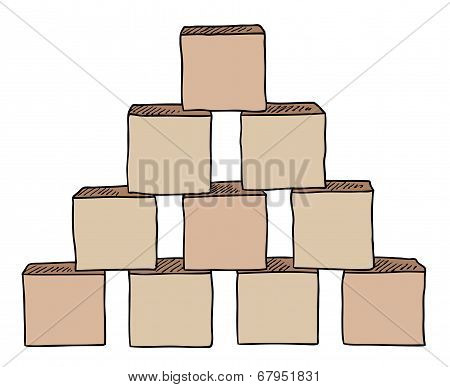 Pyramid From Brown Cubes Vector