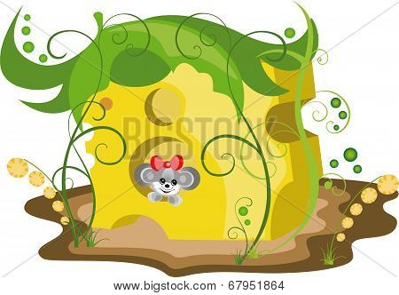 Illustration Mouse In Cheese