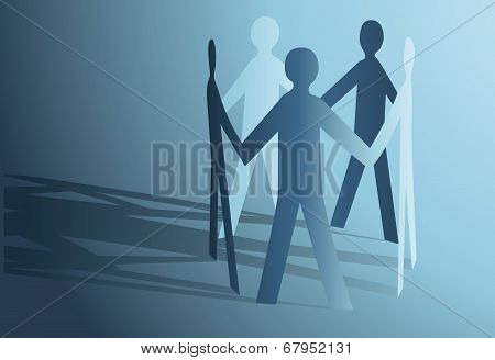Abstract Paper People Holding For Hands Vector