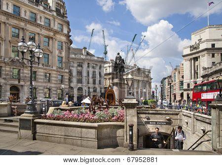 LONDON, UK - JUNE 30, 2014: Bank of England square and underground station