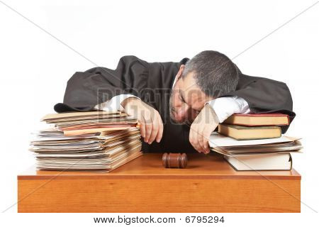 Male Judge Sleeping Over The Files