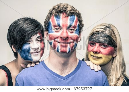 People With European Flags On Faces
