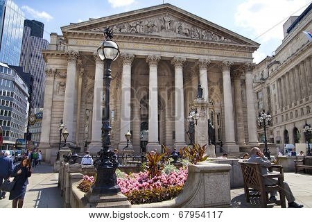 Royal exchange building. Bank of England square and underground station