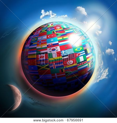 Country Flags Globe In Space