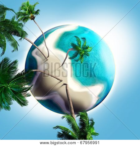 Dream Planet With Coconut Trees And Sandy Beach
