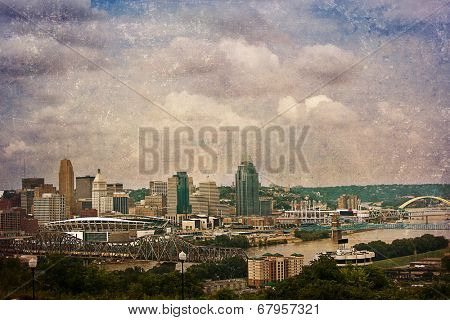 The Cincinnati riverfront shot from Covington, Kentucky.  This image has been treated with a texture overlay.