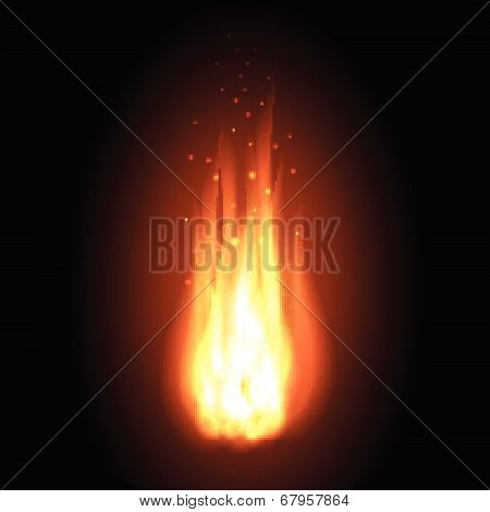 Fire. Realistic flames on a black background.