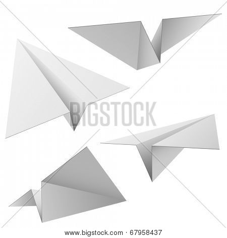 Paper planes isolated on white background.