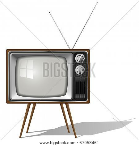 Old-fashioned four legged TV set isolated on white background.
