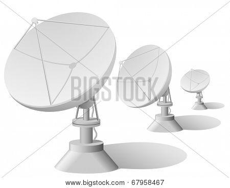 Satellite dishes row isolated on white background