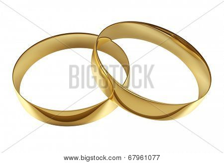 Two wedding golden rings isolated on white background.