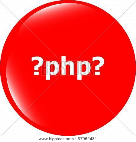 Php Sign Icon. Programming Language Symbol. Circles Buttons