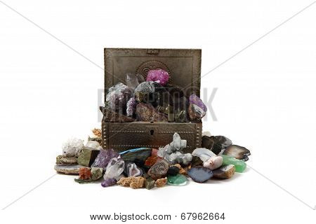 Minerals And Gems In The Metal Box