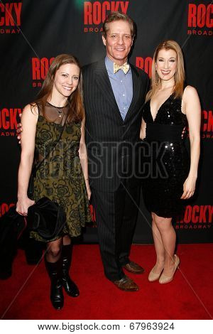 NEW YORK-MAR 13: David Andrew McDonald (C) and family attend the 'Rocky' Broadway opening night after party at Roseland Ballroom on March 13, 2014 in New York City.